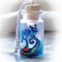 Tim Burton's Nightmare Before Christmas inspired bottle necklace, polymer clay pendant, geek jewelry