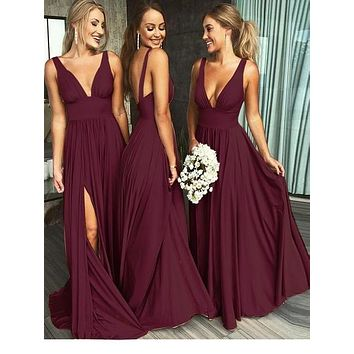 Sexy Burgundy Bridesmaid Dresses, Bridesmaid Dress BM0006