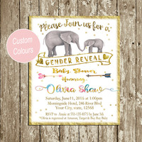 Custom Gender Reveal invitation Gold Glitter Personalized Gender Reveal party Boy or Girl Baby, Mother Elephant He or she Digital download