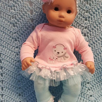 """Baby Doll Clothes to fit 15 inch doll """"Polar Bear Pink"""" Will fit Bitty Baby®  doll outfit dress leggings socks handmade snowflakes O7"""