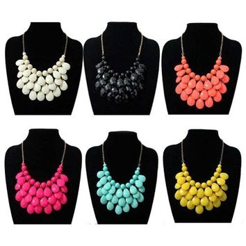 Women Bubble Bib Statement Chain Choker Necklace Pear Bead Plastic Resin Earring