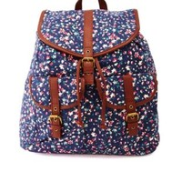 Floral Print Canvas Backpack by Charlotte Russe - Navy Combo