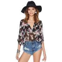 Black Floral Print V-Neck Sleeve Chiffon Blouse