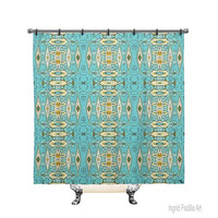 Geometric Blue, Printed, Fabric, Shower Curtain, Bath Decor, Home Decor, Boho, Art, by Ingrid Padilla