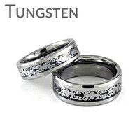 Magical – FINAL SALE Filigree design framed in silver tone black carbon inlay tungsten couples matching rings