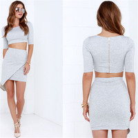 Women's Trending Popular Fashion Zipper Solid Casual Party Playsuit Clubwear Bodycon Boho Dress _ 8989