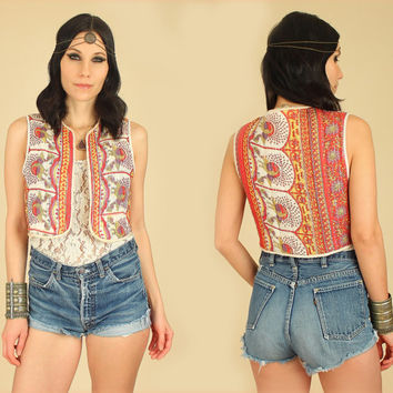 ViNtAgE 70's RARE Indian Cotton BIRDS Print Vest // Quilted Floral BoHo HiPPiE Top Shirt Medium M