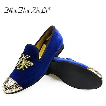 Men shoes Sneakers Handmade Men's Velvet Loafers Wedding Party Men Shoes Luxury Brand Noble Elegant Dress Shoes for Men