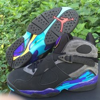 Air Jordan Retro 8 Aqua Basketball Shoes Men 8s Athletic Sneakers Come With Shoes Box