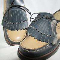 Bass Weejun Tie Loafers Shoes Vintage 60s 70s 6M