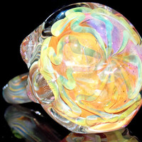 Psychedelic Sunrise - Huge Color Changing Gold and Silver Fumed Heady Spoon Pipe Large Boro Glass Smoking Bowl with Massive Sun Design