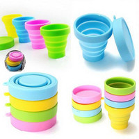 Portable Silicone Telescopic Drinking Collapsible Folding Cup Travel Camping HU