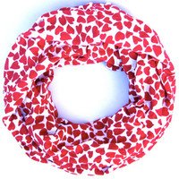 Red Valentine Hearts Cowl Scarf Womens Infinity Scarf Tube Scarf Valentine Fashion Scarves Teen Women Valentines Day Scarf Just Enough Scarf