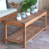 Acacia Wood Patio Coffee Table, Brown