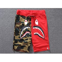 BAPE summer new trend fashion color matching camouflage shark five shorts F-A-KSFZ Red