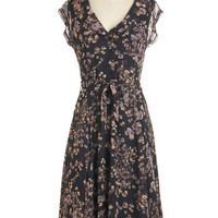ModCloth Long Cap Sleeves Shirt Dress Stealth and Stylish Dress in Night Blossoms