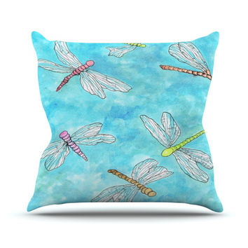 """Rosie Brown """"Dragonfly"""" Outdoor Throw Pillow"""