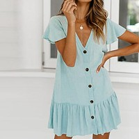 Sexy Beach Dress Button Beach Cover Up Kaftan Pareos De Playa Mujer V-neck Bikini Cover Up Swimsuit Cover Up