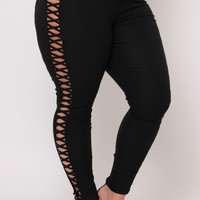 Plus Size Side Panel Criss Cross Cut Out Jean - Black