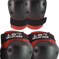 187 Combo Pack Knee/Elbow Pad Set Large/XL Red
