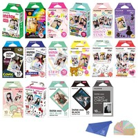 Fujifilm Instax Mini Instant Film 17 SET , Sky Blue , Black , Single , Monochrome , Candy pop , Stained Glass , Shiny Star , Rainbow , Comic , Airmail , Stripe , 6 Character + Cleaning Cloth + Sticker