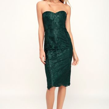 What a Knockout Forest Green Embroidered Strapless Dress