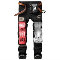 Badge Patchwork Jeans Men Ripped Jeans