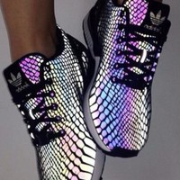 """""""Adidas"""" Fashion Women Men Casual Chameleon Reflective Sneakers Sport Running Shoes I"""
