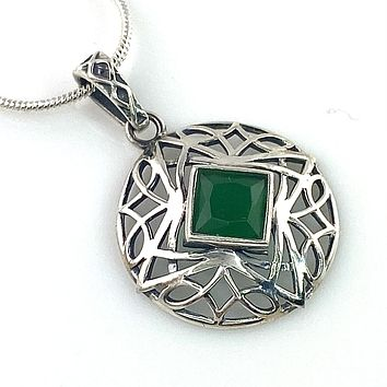 Faceted Emerald Sterling Silver Sacred Geometry Pendant
