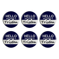 Tristan Hello My Name Is Plastic Resin Button Set of 6