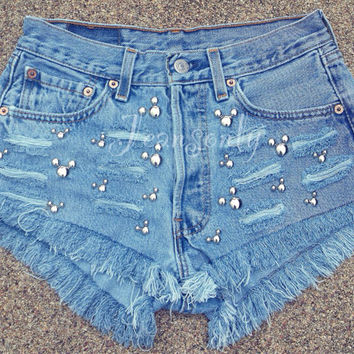 Mickey mouse Levis High waisted denim shorts Studded Ripped Shredded Distressed jeans Hipster Tumblr Custom Made To Order