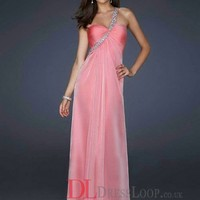 2014 New Styles A-Line One Shoulder Chiffon Watermelon Long Prom Dress/Evening Gowns With Beading VTC633