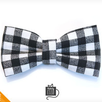 "Pet Bow Tie - ""Spellbound"" - Black Gingham Check - Detachable Bowtie for Cats + Dogs"