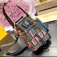 Wearwinds Fendi new retro letter embroidery canvas drawstring mini bucket bag shoulder bag