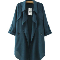 Long Sleeves  Buttoned Lapel Coat With Curved Hem