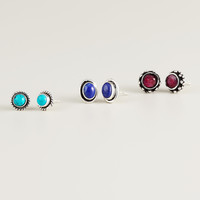 Ruby, Lapis and Turquoise Stud Earrings, Set of 3 - World Market