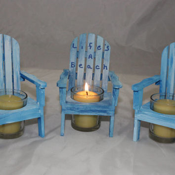 Adirondack Chair Candle Holder, Wooden Candle Holder, Beach Chair Candle Holding, Wedding Decor
