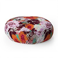Aimee St Hill Croc And Flowers Orange Floor Pillow Round