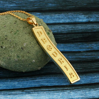Arabic Cartouche Necklace, Yellow Gold Plated, Silver, Personalized Name in English & Arabic Letters, Flat Scroll, CR008B