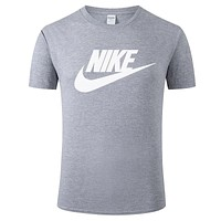 NIKE tide brand men and women loose casual sports half sleeve t-shirt grey
