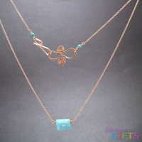 "Sleeping beauty turquoise rectangle on chain, 18"" Necklace Gold Or Silver"