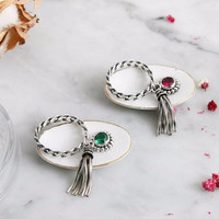 925 Sterling Silver Birthstone and Silver chain Tassel Stacking Rings,