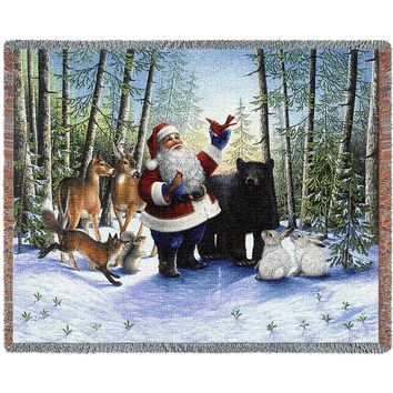 SANTA IN THE FOREST CHRISTMAS  AFGHAN THROW BLANKET