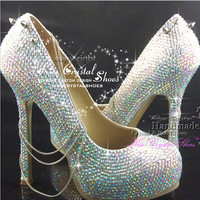 Rainbow ab Crystal High Heel Pumps Platform vintage wedding shoes Funky party shoes with chains and spikes