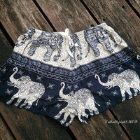 Black Summer Beach Shorts Boho Tribal Elephant Print Hippie Exotic Clothing Aztec Ethnic Bohemian Ikat Men Boxers Cotton Cute Comfy Women
