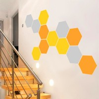 Honeycomb Geometric Hexagons Vinyl Wall Stickers Home Decor (Set of 12 pcs)