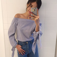 2016 Plus Size Women Sexy Blouses Slash Neck Off Shoulder Bow Long Sleeve Casual Tops Shirts Blue White Striped Party Blusas
