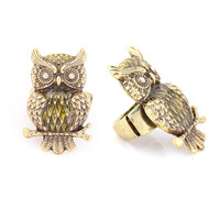 Gold-Tone Metal Owl Ring