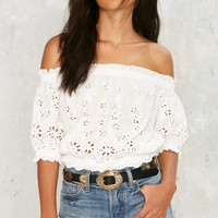 Apple of My Eyelet Top - White