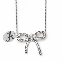 Alabama Crimson Tide Stainless Steel and Crystal Bow Necklace